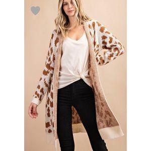 Leslie Leopard Print Cardigan - Cream/Brown